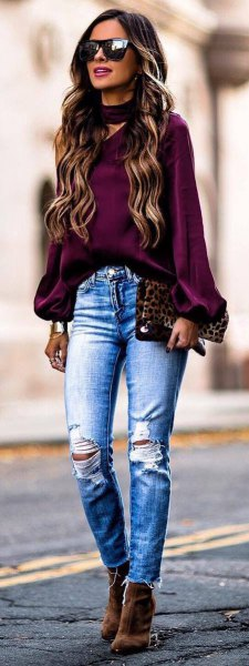 purple choker neck chiffon top with ripped skinny blue jeans