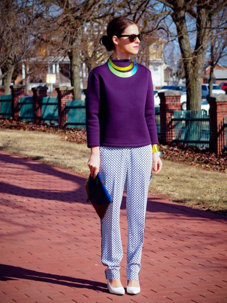 purple long sleeve top with white and navy printed relaxed fit pants
