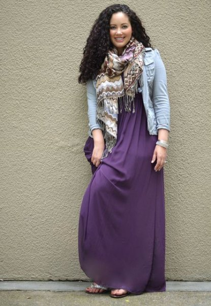 purple maxi dress with light blue denim jacket and scarf
