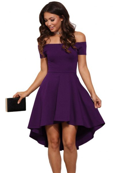 purple off the shoulder fit and flare mini cocktail dress