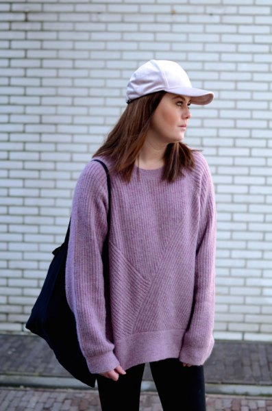 purple oversized knit sweater with white baseball cap