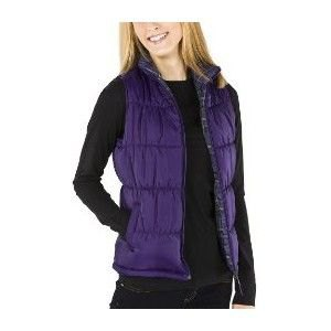 purple quilted vest with black long sleeve top and jeans