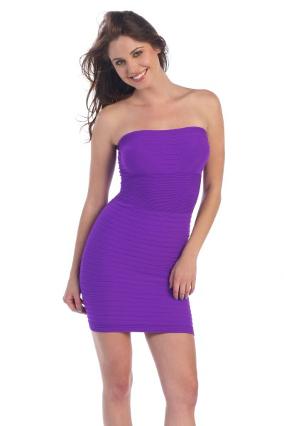 purple strapless bodycon tube sundress