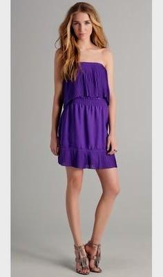 purple strapless ruffle shoulder mini shift dress