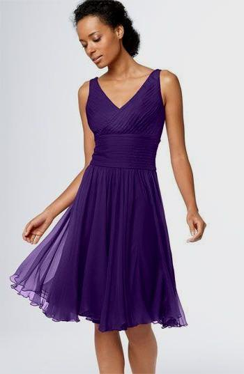 purple v neck midi flared tulle cocktail dress