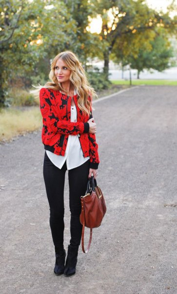 red and black printed jacket with white button up blouse