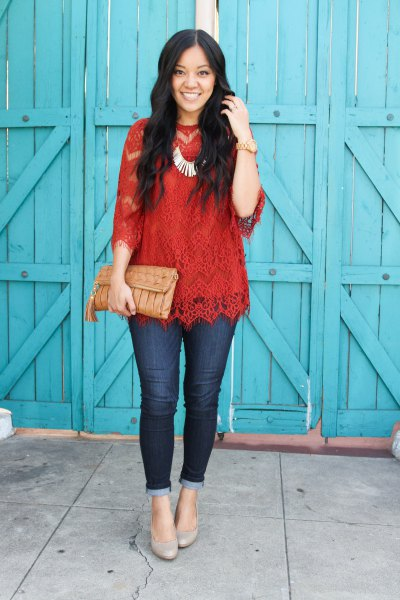 red three quarter sleeve lace top with silver statement necklace