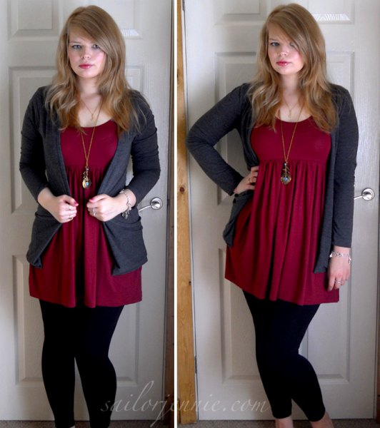 red tunic with grey cardigan and black leggings