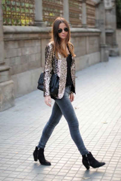 rose gold sequin blazer jacket with grey skinny jeans