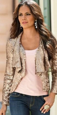 ruffle neckline sequin jacket with blue jeans