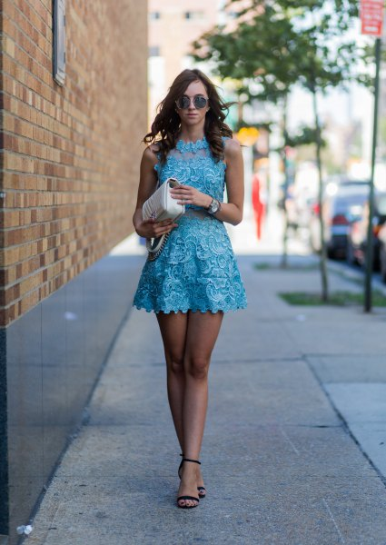 scalloped hem halter neck fit and flare mini dress