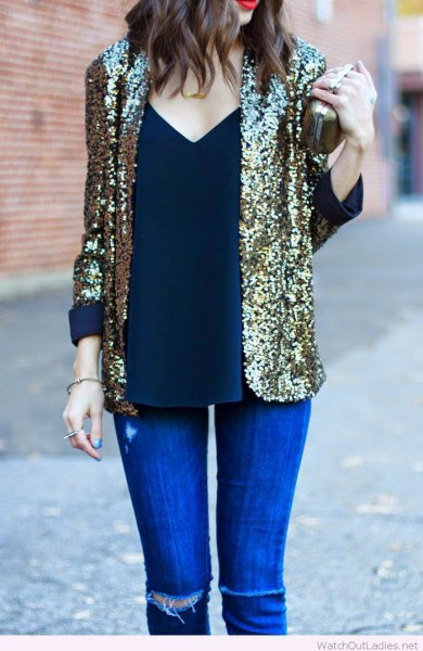 sequin blazer with deep v neck vest top and royal blue skinny jeans