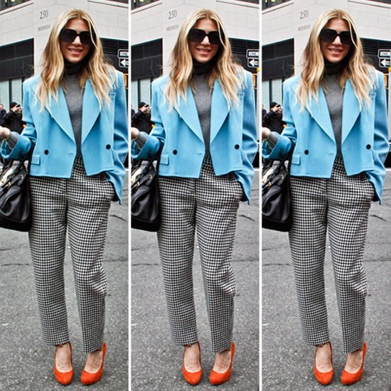 short blazer with checkered straight leg pants