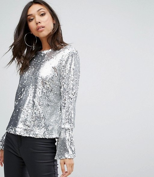 silver sequin bell sleeve blouse with black leather pants