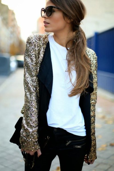 silver sequin evening jacket with white tee and black vest