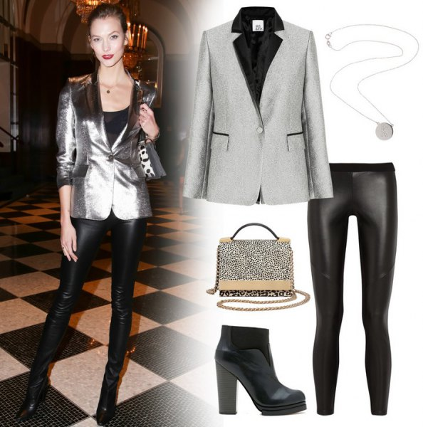 silver shiny blazer with black leather pants