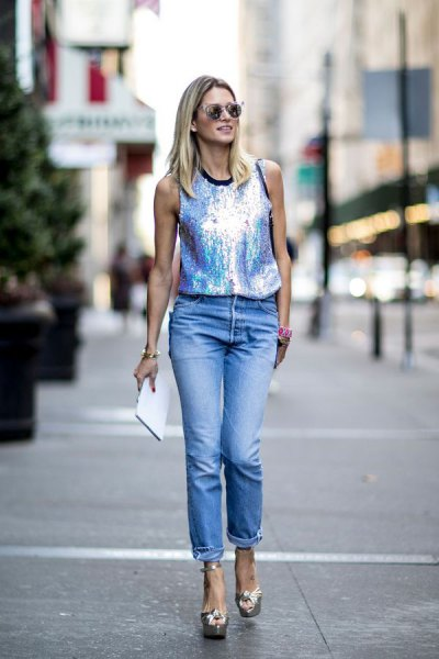 silver tank top with cuffed boyfriend jeans