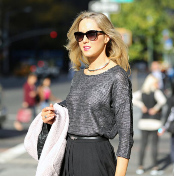 silver textured blouse with black pleated midi skirt
