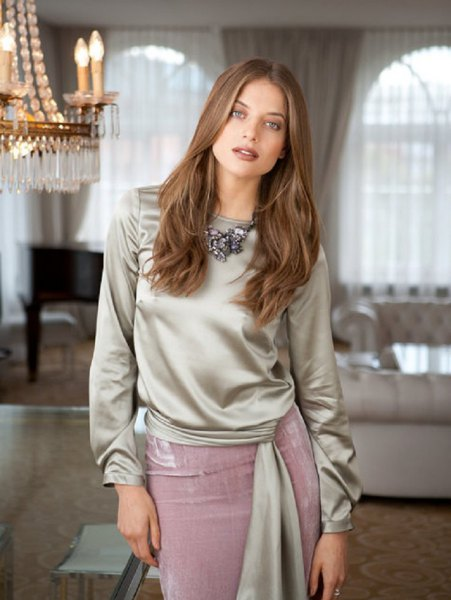 silver tie waist blouse with grey midi silk skirt