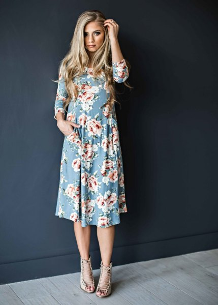 sky blue and white floral printed swing midi dress