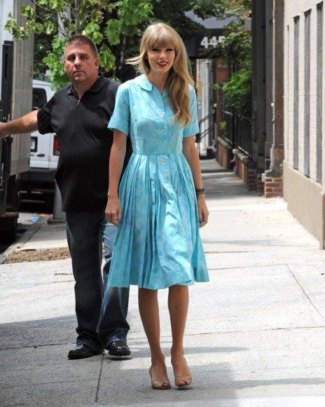 sky blue flared pleated midi shirt dress