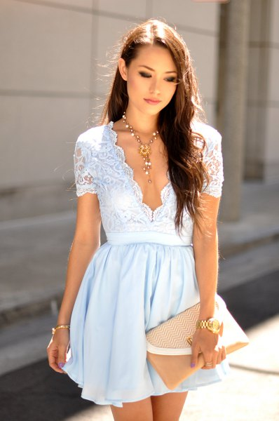 sky blue lace deep v neck mini pleated dress