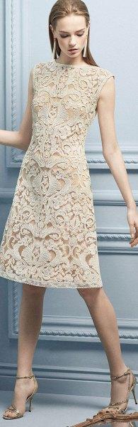 sleeveless cream midi lace dress