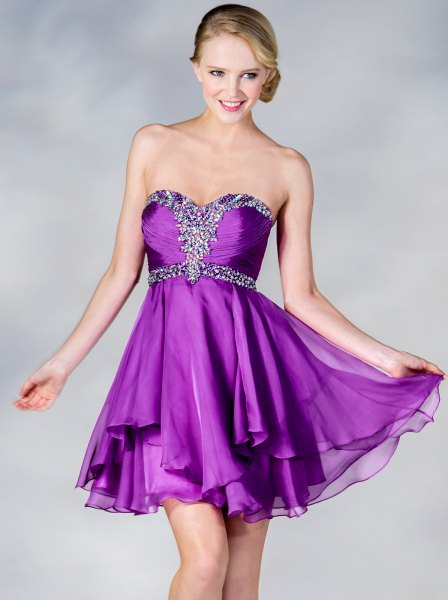 strapless flared mini tulle dress