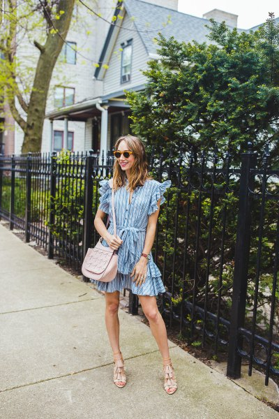striped ruffle sleeve mini multi layered dress