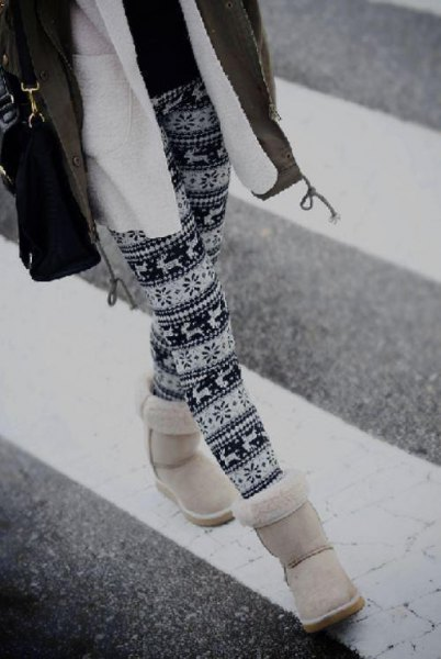 tribal printed leggings and fleece jacket and white snow boots