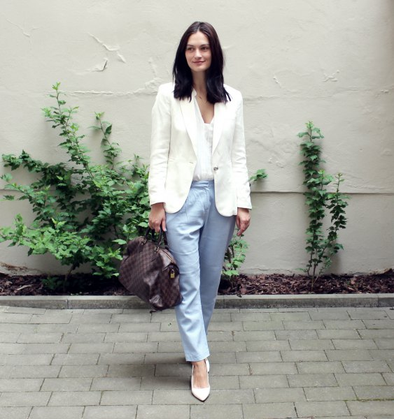 white blazer and v neck blouse