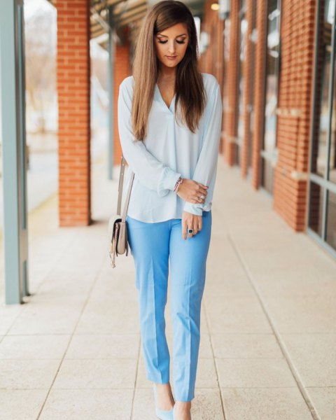 white chiffon blouse with light blue relaxed fit cropped pants