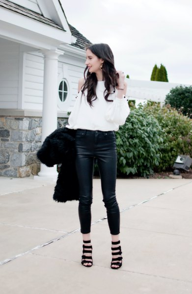 white cold shoulder blouse with cropped skinny jeans