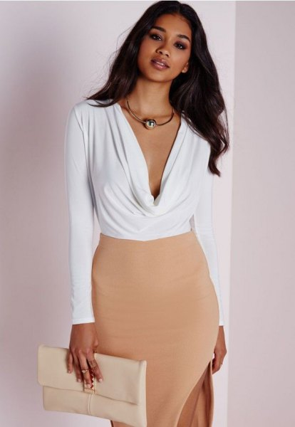 white deep v cowl neck bodysuit blouse with blush bodycon midi dress