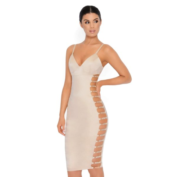 white deep v neck bodycon mini dress with multiple cut out side details