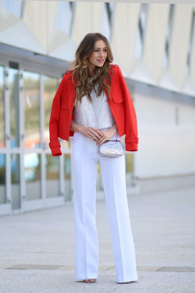 white dress pants with lace top and red blazer