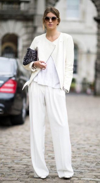 white dress pants with matching bomber jacket