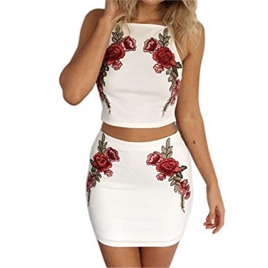 white halter neck floral embroidered two piece dress