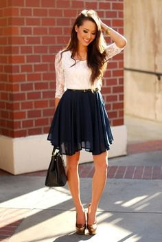 white lace half sleeve top with chiffon mini skater skirt