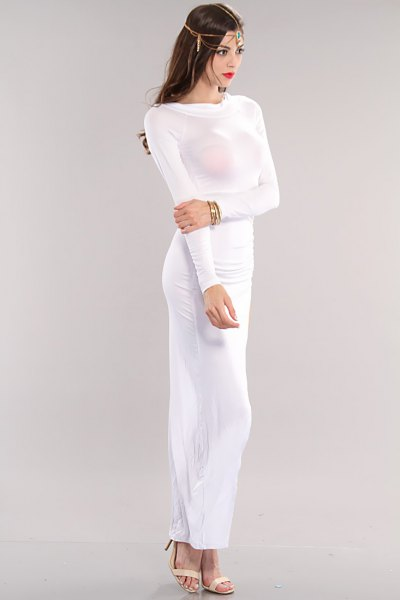 white long sleeve form fitting maxi dress
