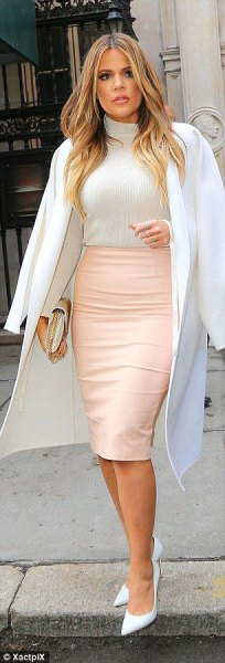 white long wool coat with blush midi bodycon leather skirt