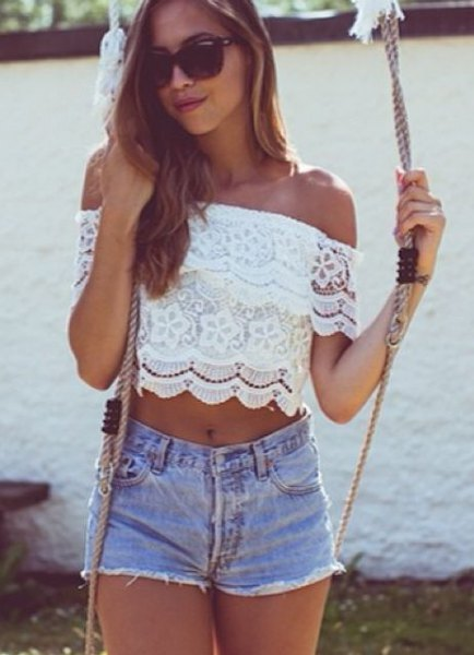 white off the shoulder crop top with light blue mini shorts