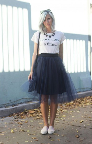 white print tee with black two layered dress