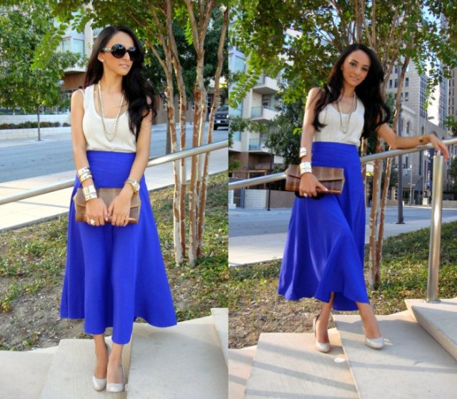 white scoop neck tank top with royal blue maxi flared skirt