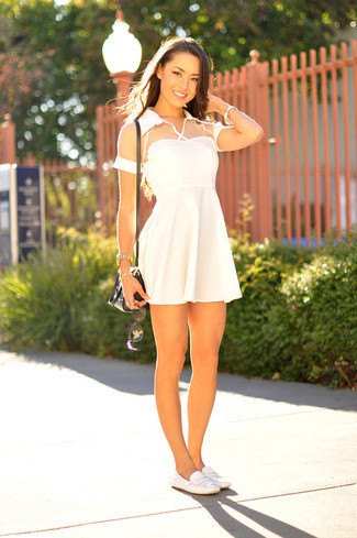 white semi sheer short sleeve fit and flare mini dress with leather shoes