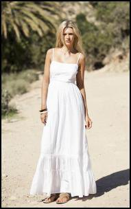 white spaghetti strap floor length breezy dress