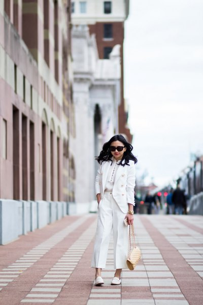 white suit with matching leather loafers