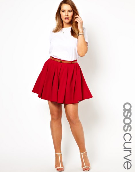 white t shirt with belted pleated mini skirt