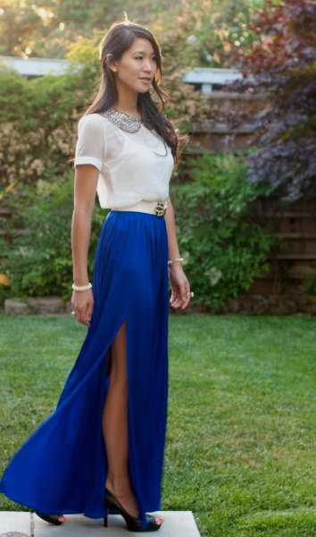 white t shirt with blue high split maxi skirt