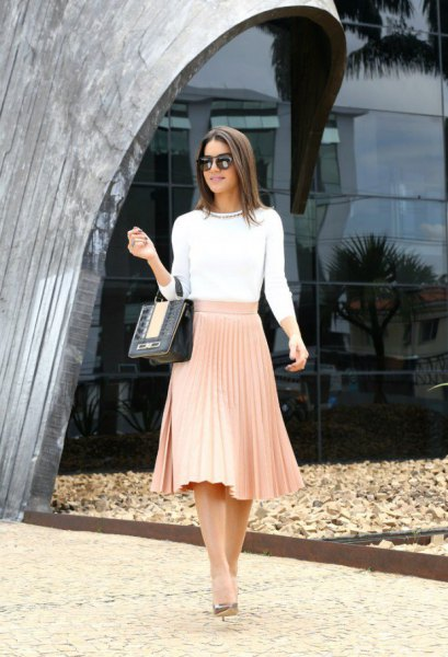 white three quarter sleeve fitted sweater with blush midi pleated skirt